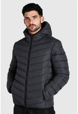Mens Grey Quilted Zip Through Jacket With Hood