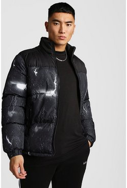 Black Lightning Print Puffer Jacket