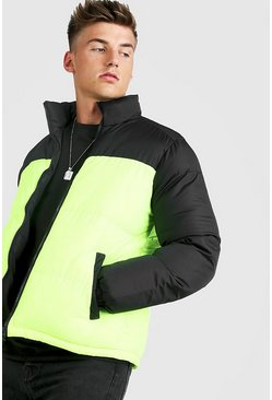 Mens Neon-green Neon Colour Block Puffer Jacket