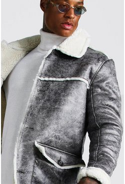 Mens Grey Borg Lined Faux Suede Overcoat
