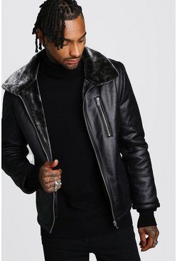 Black Faux Leather Aviator With Faux Fur Collar