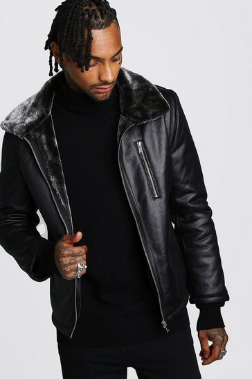 Mens Black Faux Leather Aviator With Faux Fur Collar