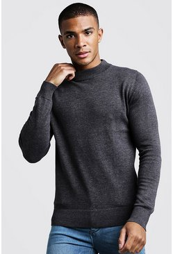 Mens Charcoal Long Sleeve Turtle Neck Jumper