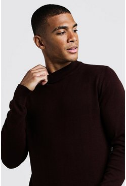 Chocolate Long Sleeve Turtle Neck Jumper