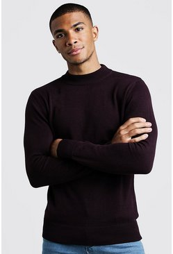 Mens Aubergine Long Sleeve Turtle Neck Jumper