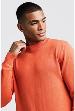 Mens Orange Long Sleeve Turtle Neck Jumper