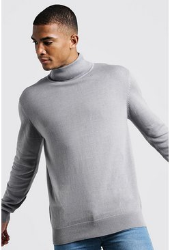 Mens Silver grey Long Sleeve Roll Neck Jumper