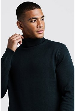 Bottle green Long Sleeve Roll Neck Jumper