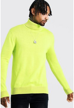 Mens Neon-green Long Sleeve Roll Neck Jumper