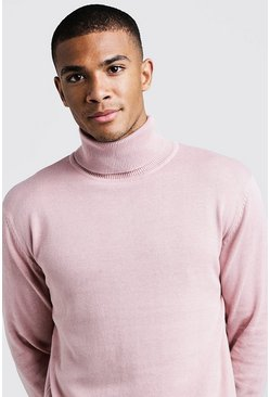Mens Dusky pink Long Sleeve Roll Neck Jumper