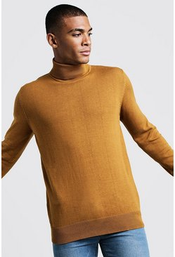 Mens Mustard Long Sleeve Roll Neck Jumper