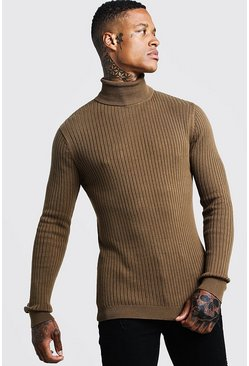 Mens Tobacco Long Sleeved Ribbed Roll Neck Jumper