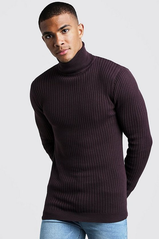 Mens Aubergine Long Sleeved Ribbed Roll Neck Jumper