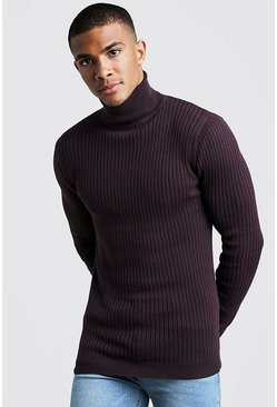 Aubergine Long Sleeved Ribbed Roll Neck Jumper