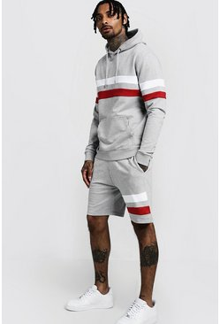 Mens Grey Contrast Panel Hooded Short Tracksuit