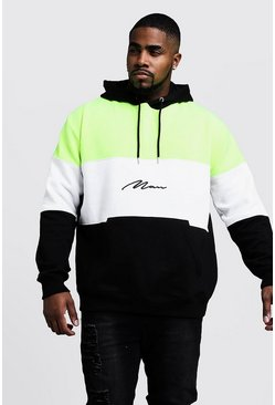 Big & Tall - Sweat à capuche colour block fluo avec signature MAN, Noir, HOMMES