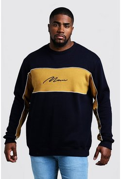 Big & Tall - Sweat colour block signature MAN, Moutarde, Homme