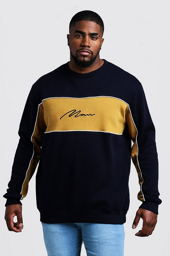 Mens Mustard Big & Tall Colour Block MAN Signature Sweater