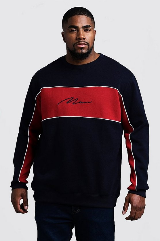 Mens Red Big & Tall Colour Block MAN Signature Sweater