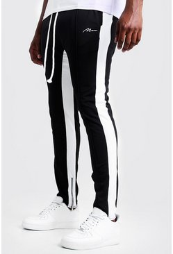 Mens Black Big & Tall Tricot MAN Side Panel Skinny Joggers