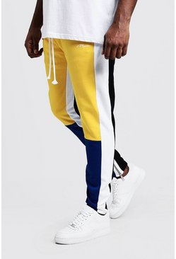 Mens Yellow Big & Tall Skinny Fit MAN Colour Block Joggers