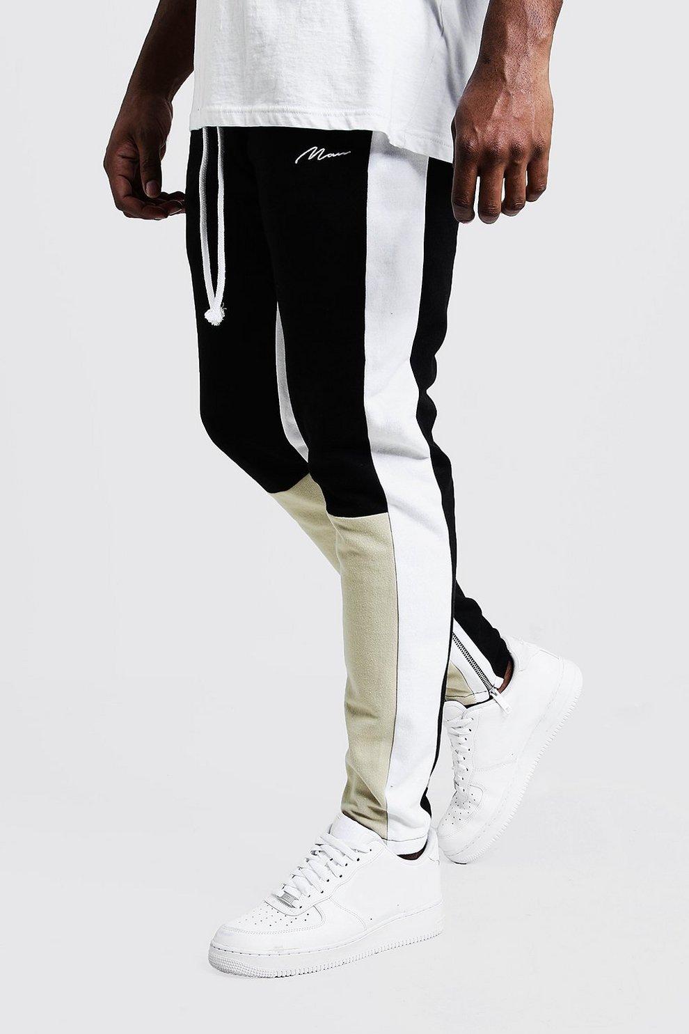 d2f653283c4093 Mens Taupe Big & Tall Skinny Fit MAN Colour Block Joggers