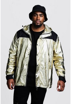 Big & Tall Windjacke mit Kapuze in Metallic-Optik, Gold, HERREN