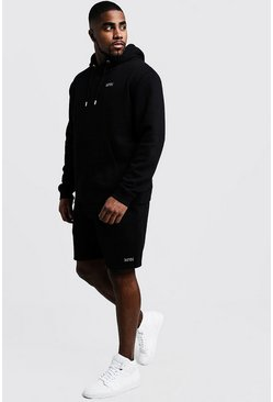 Mens Black Big & Tall MAN Embroidered Short Tracksuit