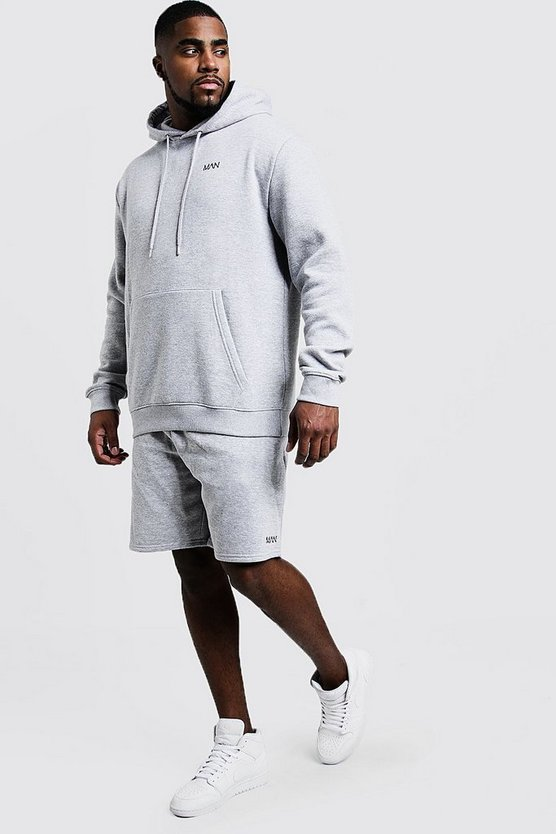Mens Grey marl Big & Tall MAN Embroidered Short Tracksuit