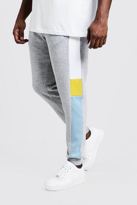 Mens Pale blue Big & Tall Colour Block Skinny Fit Jogger