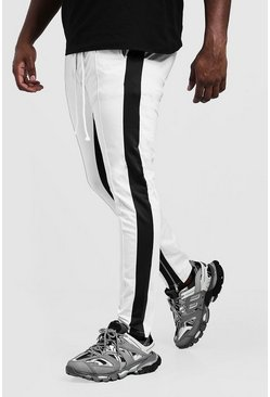 Mens White Big & Tall Side Panel Tricot Skinny Joggers