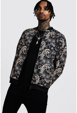 Gold Baroque Print Detail Bomber Jacket