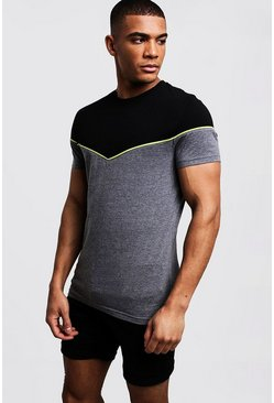 Mens Black Muscle Fit Colour Block Tee With Neon Piping