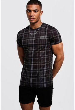 Mens Black Check Muscle Fit Tee With Chest Print