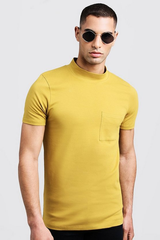 Mens Mustard Muscle Fit T-Shirt With Extended Neck