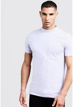 Mens Orchid Muscle Fit T-Shirt With Extended Neck