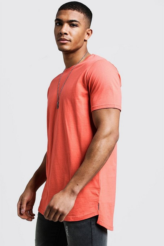 Mens Coral Longline Stepped Curved Hem T-Shirt