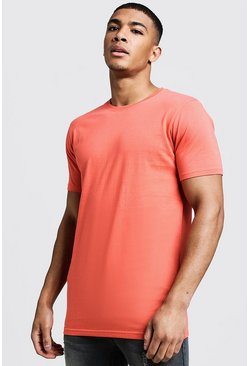 Mens Coral Longline Fitted T-Shirt