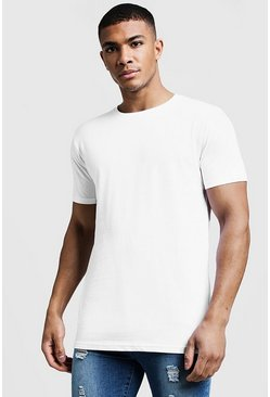 White Longline Fitted T-Shirt