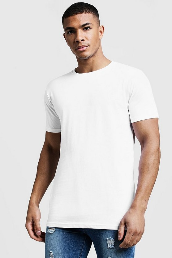 Mens White Longline Fitted T-Shirt