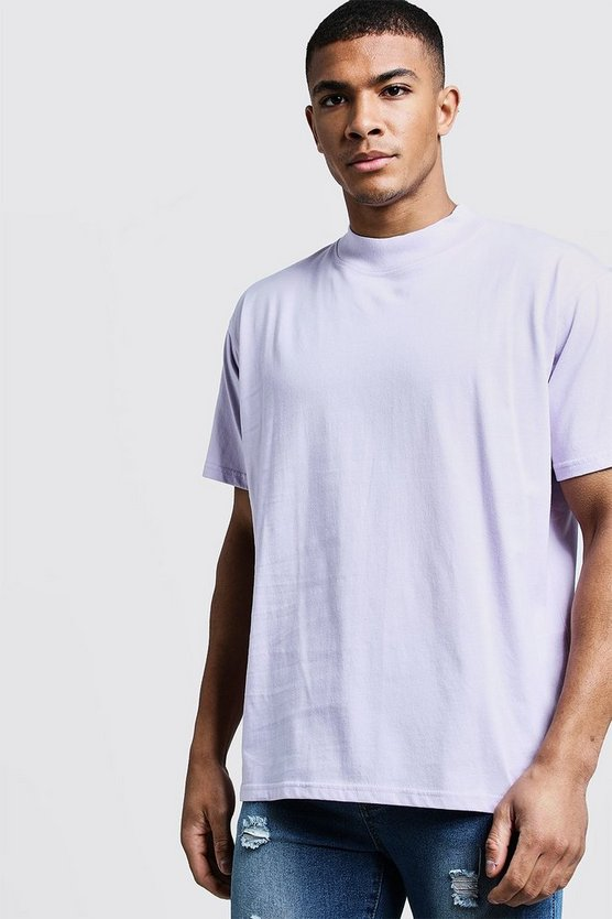 Mens Lilac Loose Fit T-Shirt With Extend Neck