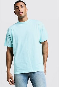 Mens Aqua Loose Fit T-Shirt With Extend Neck