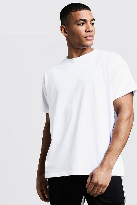 Mens White T-Shirt With Grown On Sleeve