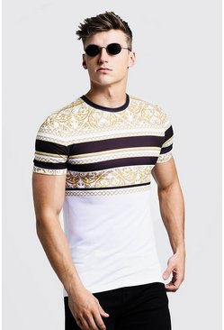 Mens White Muscle Fit T-Shirt In Stripe Baroque
