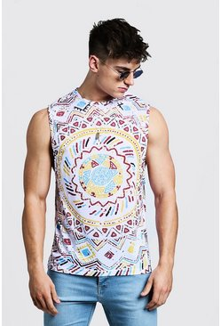 Herr White Dropped Armhole Tank In Aztec Print