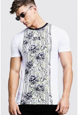 Mens Black Muscle Fit T-Shirt With Floral Stripe Print