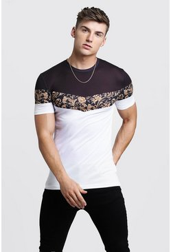 T-shirt colour block à imprimé baroque Muscle Fit, Noir, Homme