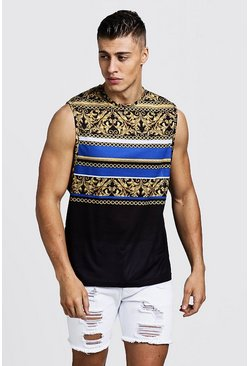 Mens Black Dropped Armhole Tank In Stripe Baroque