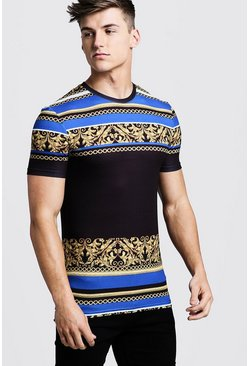 Mens Black Muscle Fit T-Shirt In Stripe
