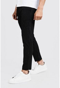 Mens Black Darted Pinstripe Smart Jogger Pants